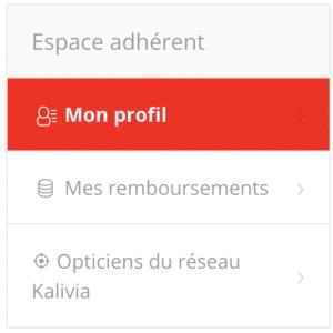 Menu de gauche > Mon profil